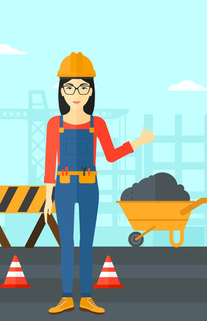 construction equipment: An asian woman in helmet showing thumbs up sign on a background of construction site with road barriers and wheelbarrow vector flat design illustration. Vertical layout.