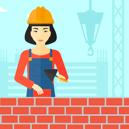 brick and mortar: An asian female bricklayer with a spatula and a brick in hands on a background of construction site vector flat design illustration. Square layout.