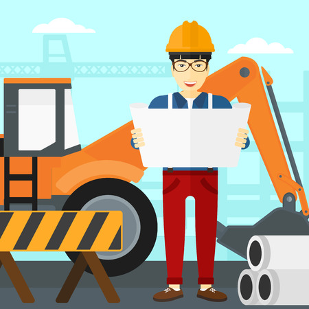 An asian man considering a blueprint on a background of excavator on construction site vector flat design illustration. Square layout.