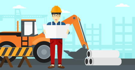 building inspector: An asian man considering a blueprint on a background of excavator on construction site vector flat design illustration. Horizontal layout. Illustration