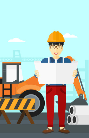 construction draftsman: An asian man considering a blueprint on a background of excavator on construction site vector flat design illustration. Vertical layout.