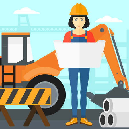 building inspector: An asian woman considering a blueprint on a background of excavator on construction site vector flat design illustration. Square layout.
