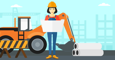 building inspector: An asian woman considering a blueprint on a background of excavator on construction site vector flat design illustration. Horizontal layout. Illustration