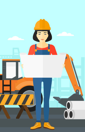 considering: An asian woman considering a blueprint on a background of excavator on construction site vector flat design illustration. Vertical layout.