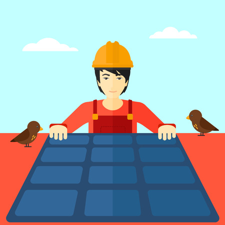 setup man: An asian man installing solar panels on roof vector flat design illustration. Square layout.