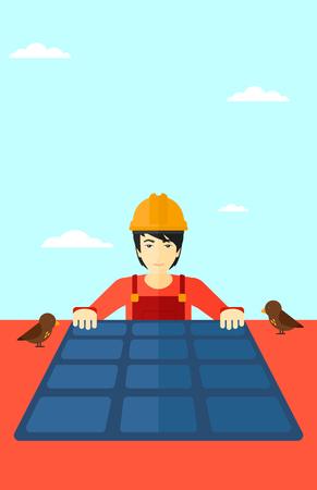 setup man: An asian man installing solar panels on roof vector flat design illustration. Vertical layout.