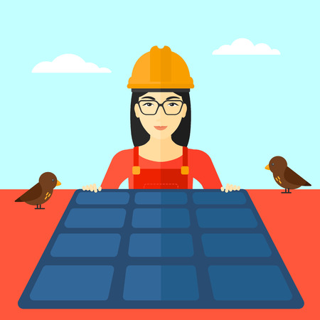 flat roof: An asian woman installing solar panels on roof vector flat design illustration. Square layout.