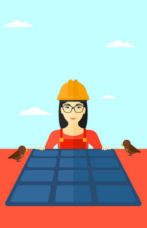 flat roof: An asian woman installing solar panels on roof vector flat design illustration. Vertical layout.