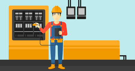 electrical engineer: An asian man in helmet measuring the voltage output vector flat design illustration. Horizontal layout. Illustration