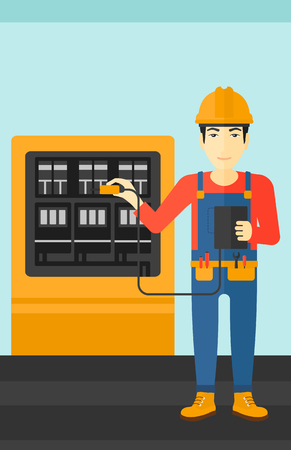 switchboard: An asian man in helmet measuring the voltage output vector flat design illustration. Vertical layout.
