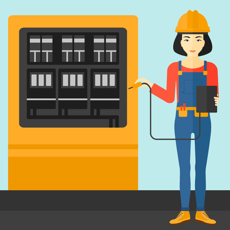 shapes cartoon: An asian woman in helmet measuring the voltage output vector flat design illustration. Square layout.
