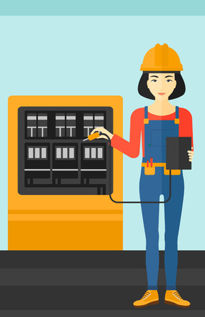 An asian woman in helmet measuring the voltage output vector flat design illustration. Vertical layout.
