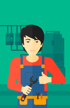 boiler: An asian man with a spanner in hand showing thumb up sign on a background of domestic household boiler room with heating system and pipes vector flat design illustration. Vertical layout.