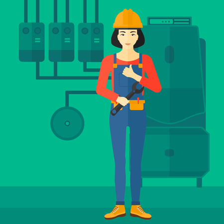 boiler room: An asian female repairer engineer with a spanner in hand showing thumb up sign on a background of domestic household boiler room with heating system and pipes vector flat design illustration. Square layout.