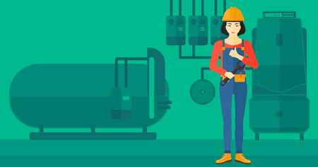 boiler: An asian female repairer engineer with a spanner in hand showing thumb up sign on a background of domestic household boiler room with heating system and pipes vector flat design illustration. Horizontal layout. Illustration