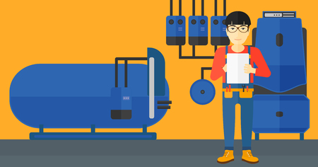 An asian man making some notes in his tablet on a background of domestic household boiler room with heating system and pipes vector flat design illustration. Horizontal layout. Illustration