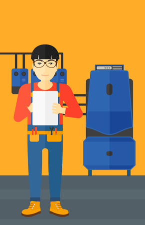 boiler room: An asian man making some notes in his tablet on a background of domestic household boiler room with heating system and pipes vector flat design illustration. Vertical layout.