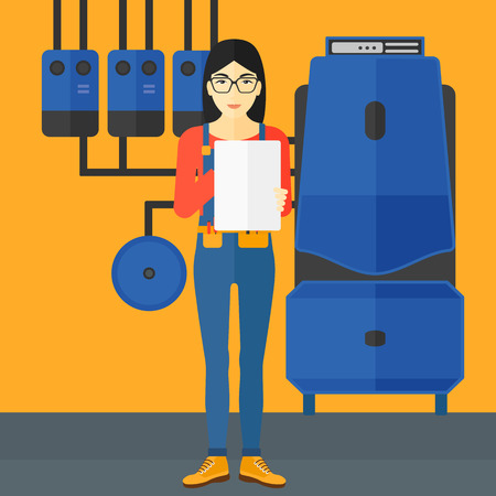 An asian woman making some notes in her tablet on a background of domestic household boiler room with heating system and pipes vector flat design illustration. Square layout.