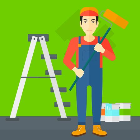 paint can: An asian man standing with a paint roller  on a background of room with paint cans and ladder vector flat design illustration. Square layout.