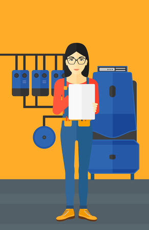 An asian woman making some notes in her tablet on a background of domestic household boiler room with heating system and pipes vector flat design illustration. Vertical layout. Illustration