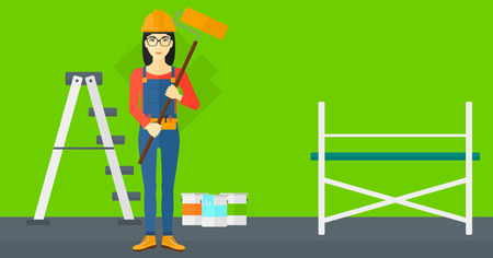 paint cans: An asian woman standing with a paint roller  on a background of room with paint cans and ladder vector flat design illustration. Horizontal layout.
