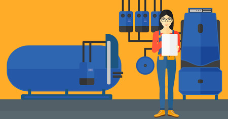 boiler room: An asian woman making some notes in her tablet on a background of domestic household boiler room with heating system and pipes vector flat design illustration. Horizontal layout.