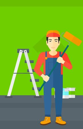 paint can: An asian man standing with a paint roller  on a background of room with paint cans and ladder vector flat design illustration. Vertical layout.