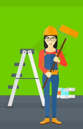 paint cans: An asian woman standing with a paint roller  on a background of room with paint cans and ladder vector flat design illustration. Vertical layout.
