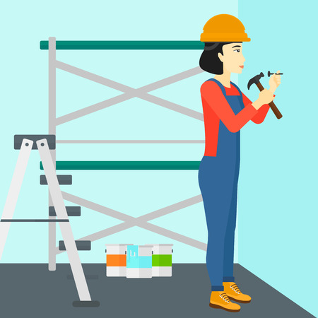 An asian woman hitting a nail in the wall with a hummer on a background of room with paint cans and ladder vector flat design illustration. Square layout.