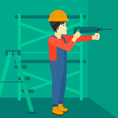 An asian man drilling a hole in the wall using a perforator vector flat design illustration. Square layout.