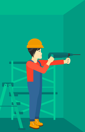 perforator: An asian man drilling a hole in the wall using a perforator vector flat design illustration. Vertical layout.