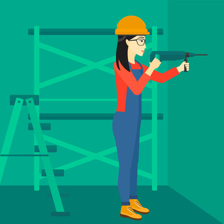 constructor: An asian constructor drilling a hole in the wall using a perforator vector flat design illustration. Square layout.
