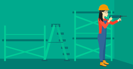 constructor: An asian constructor drilling a hole in the wall using a perforator vector flat design illustration. Horizontal layout.