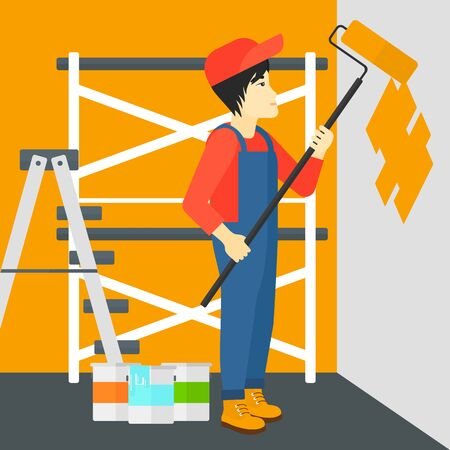 man painting: An asian man painting walls with a paint roller vector flat design illustration. Square layout.