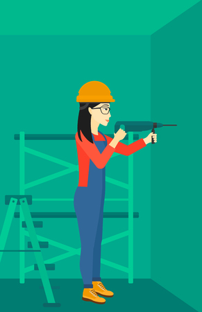 constructor: An asian constructor drilling a hole in the wall using a perforator vector flat design illustration. Vertical layout.