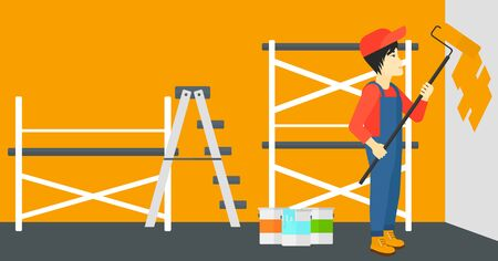 man painting: An asian man painting walls with a paint roller vector flat design illustration. Horizontal layout. Illustration