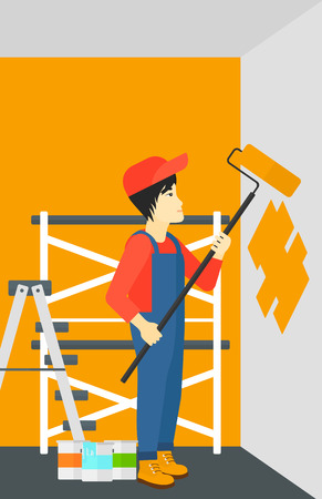 house painter: An asian man painting walls with a paint roller vector flat design illustration. Vertical layout.