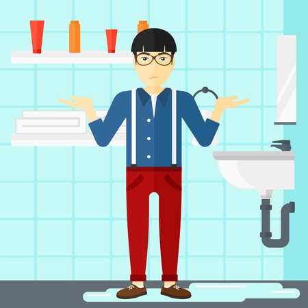 leakage: An asian man in despair standing near leaking sink in the bathroom vector flat design illustration. Square layout.
