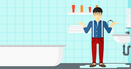leaking: An asian  man in despair standing near leaking sink in the bathroom vector flat design illustration. Horizontal layout.