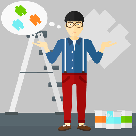paint samples: An asian man choosing color for a room on a background of wall with paint samples vector flat design illustration. Square layout. Illustration