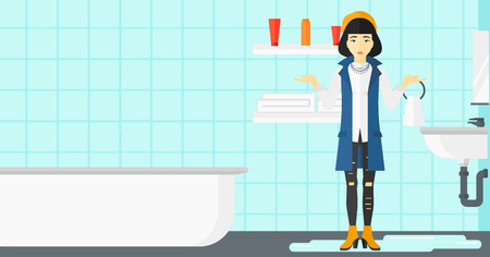 leaking: An asian woman in despair standing near leaking sink in the bathroom vector flat design illustration. Horizontal layout.