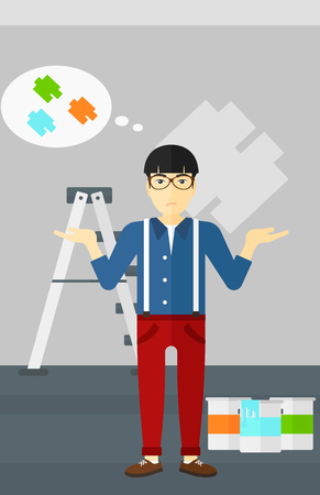 paint samples: An asian man choosing color for a room on a background of wall with paint samples vector flat design illustration. Vertical layout.