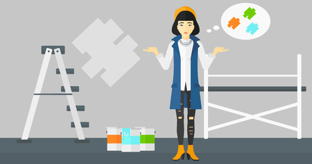 paint samples: An asian  woman choosing color for a room on a background of wall with paint samples vector flat design illustration. Horizontal layout. Illustration