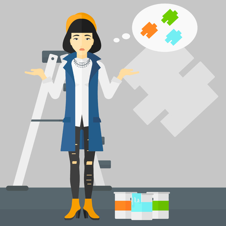 paint samples: An asian woman choosing color for a room on a background of wall with paint samples vector flat design illustration. Square layout. Illustration