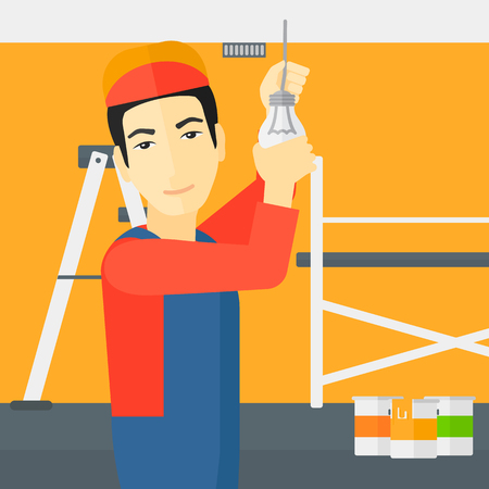 fixing: An asian worker twisting a light bulb on a background of room with paint cans and ladder vector flat design illustration isolated on white background. Square layout.