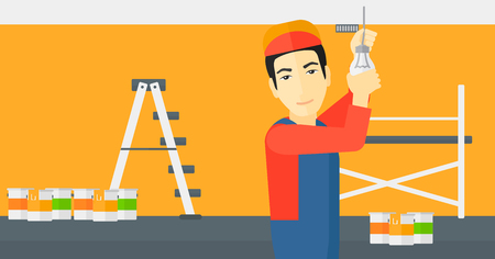 screwing: An asian worker twisting a light bulb on a background of room with paint cans and ladder vector flat design illustration isolated on white background. Horizontal layout. Illustration