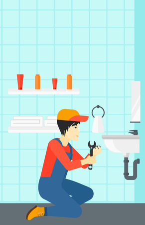 basin: An asian man sitting in a bathroom and repairing a sink with a spanner vector flat design illustration. Vertical layout.