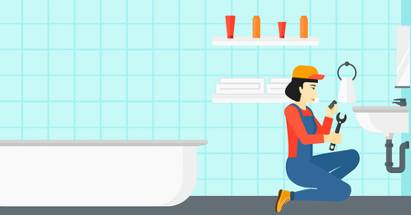 An asian woman sitting in a bathroom and repairing a sink with a spanner vector flat design illustration. Horizontal layout.