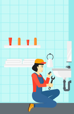 wash basin: An asian woman sitting in a bathroom and repairing a sink with a spanner vector flat design illustration. Vertical layout. Illustration