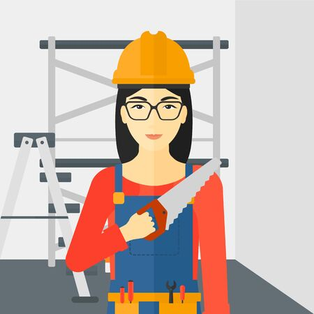 step ladder: An asian female worker holding a saw in hand on a background of walls and step ladder vector flat design illustration. Square layout. Illustration